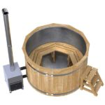 Stainless Steel Wooden Hot Tub with a Wood-Fired Heater