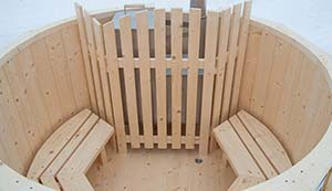 Picture of winter wood burning hot tub