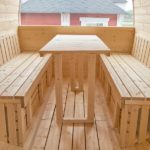 5m Outdoor Sauna for 6 persons with seats or bed_inside_table