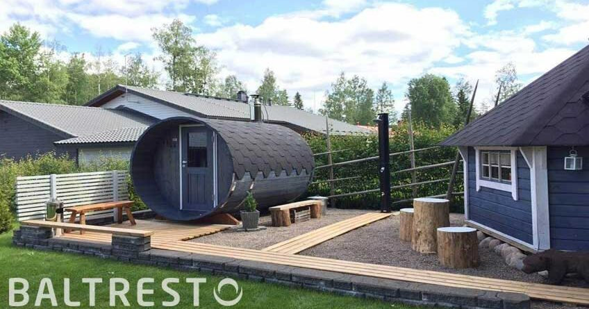 pic exterior painting of garden saunas and wooden hot tubs